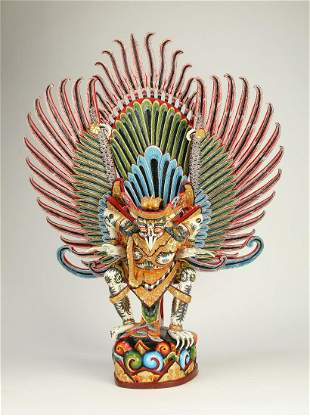 Balinese hand carved and painted statue of Garuda