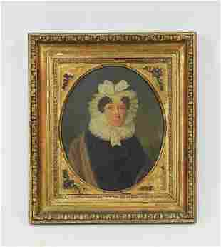 18th c. American O/b portrait of a woman