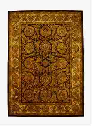 Indo-Persian hand tufted wool rug, 12 x 8