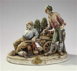 Antonio Borsato porcelain grouping, 'Fruit Seller'