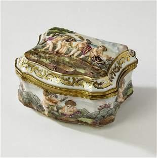 Capodimonte hand painted porcelain dresser box