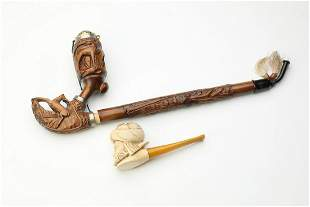 (2) Meerschaum and carved wood pipes