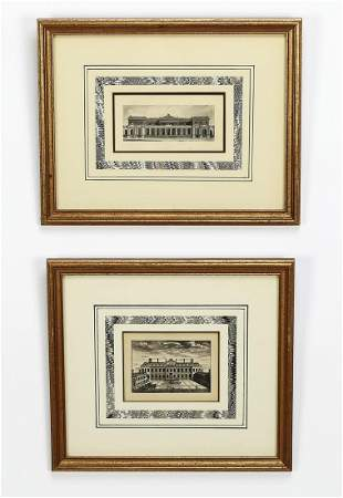 (2) 19th c. English engravings of London houses