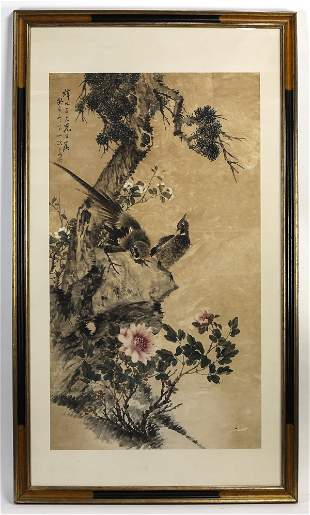 """Chinese hand painted scroll of pheasants, pine, 75""""h"""
