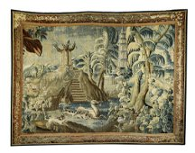 18th c. Continental hand woven verdure tapestry