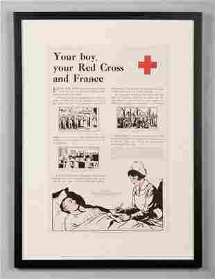 Original framed WWI Red Cross poster
