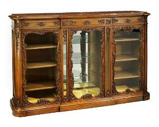 Oversized 19th c. French marble top display cabinet