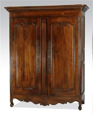 18th c French fruitwood double door armoire