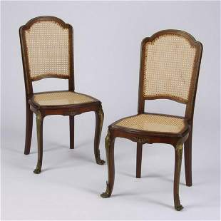 (2) 19th c. bronze mounted walnut chairs w/woven cane