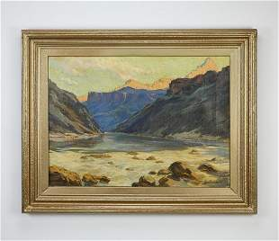 Louis H. Sharp signed Grand Canyon O/c, 1914