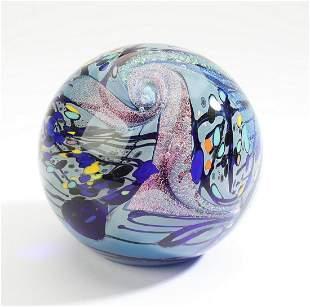 Rollin Karg signed, art glass paperweight