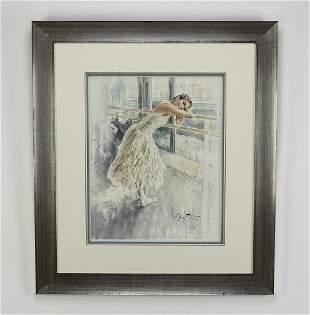 Gordon King (British) signed W/c of resting ballerina