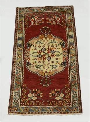 Hand knotted wool Turkish Oushak rug, 5 x 3