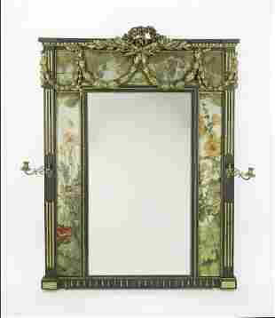 French paint decorated giltwood mirror w/ sconces