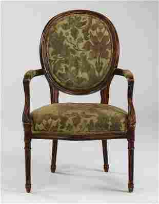 Sheraton style upholstered armchair