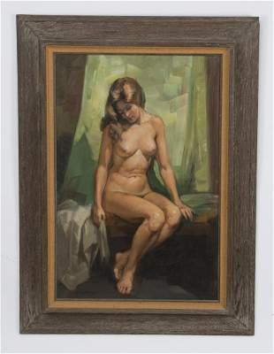 A. L. Karafyllakis O/c of seated nude beauty, signed