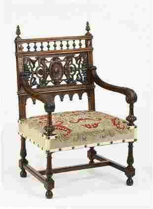 19th c. French walnut armchair with needlepoint seat