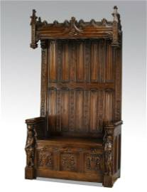 """19th c. French Gothic Revival oak hall bench, 93""""h"""
