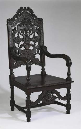 "19th c. Italian carved oak armchair, 56""h"