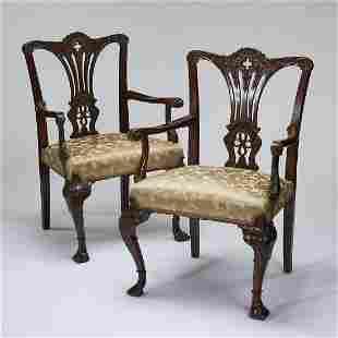(2) English mahogany armchairs, early 20th c.