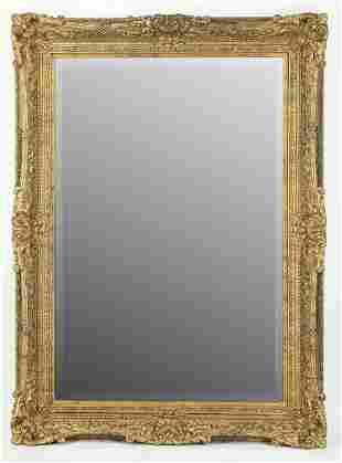 "Monumental beveled giltwood mirror, 87""h"