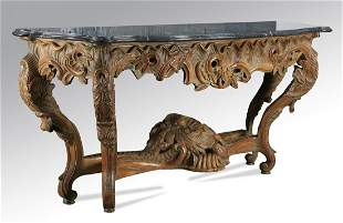 """Rococo Revival carved marble top console, 78""""w"""