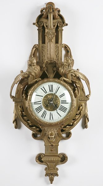 7: 19th century French bronze wall clock