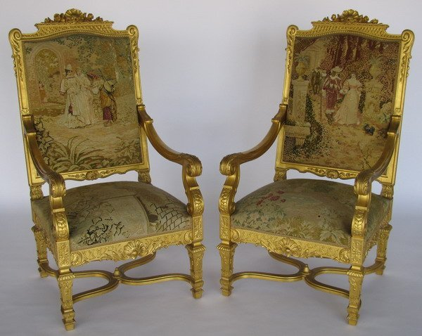 17: 19th century Spanish giltwood chairs