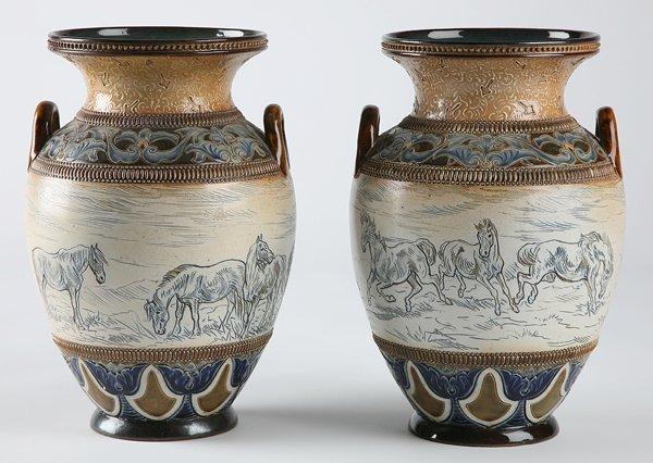 251: 19th century Dalton Lambeth vases