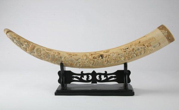 258: Vintage carved ivory tusk