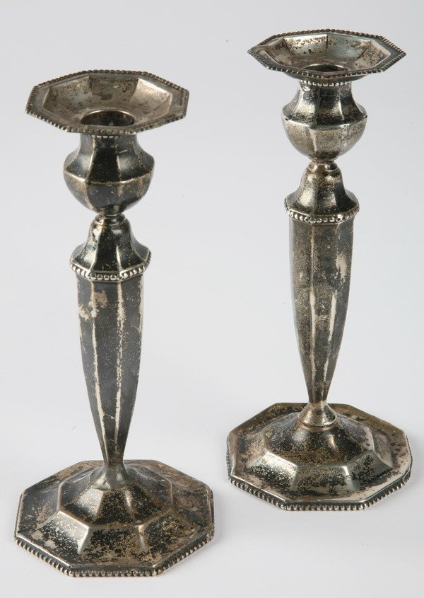 262: English sterling silver candleholders