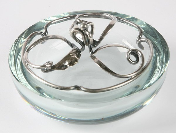270: Petersen & Sons crystal and silver ash tray