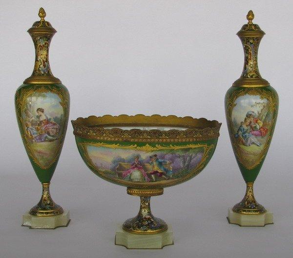 273: Sevres porcelain garniture set, artist signed