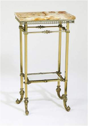 Early 20th c. Continental onyx top brass etagere