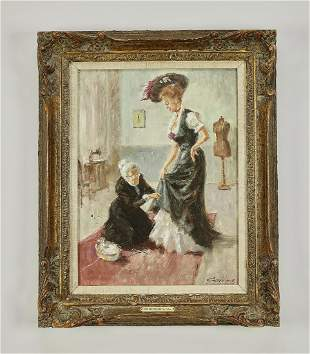 Early 20th c. O/c, lady and seamstress, signed