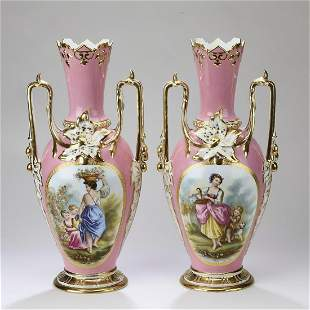 """(2) Hand painted Sevres style pink ground vases, 21""""h"""