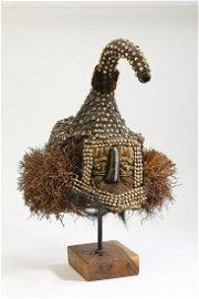 Kuba mixed media cap mask, DRC, with custom stand
