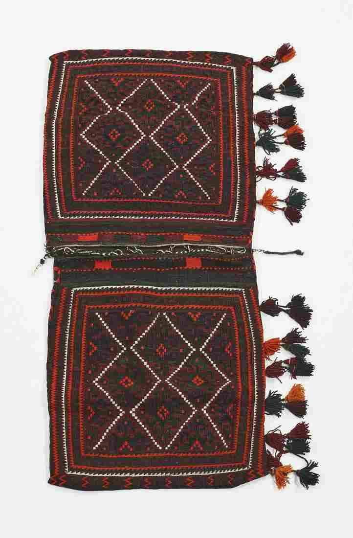 Hand woven wool Yomut double saddle bag, 5 x 3
