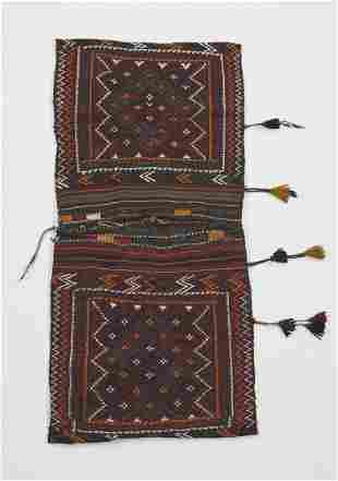 Hand woven wool Yomut double saddle bag, 5 x 3