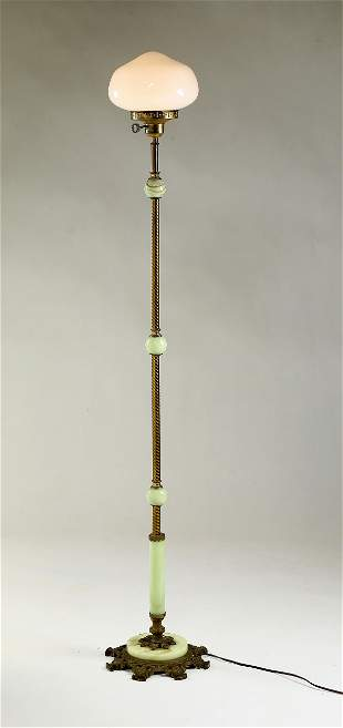 Early 20th c. Victorian floor lamp with onyx accents