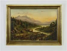 Signed TM Keysen O/b landscape, dated 1884