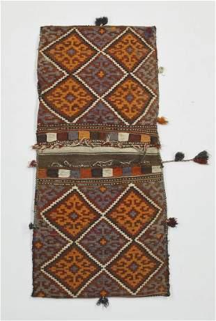 Hand woven wool Uzbek double saddle bag, 5 x 3