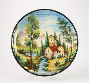 Hand painted Italian majolica scenic charger