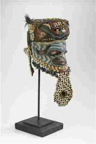 Kuba Bwoom mixed media beaded helmet mask with stand