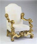 Monumental Italian giltwood throne chair