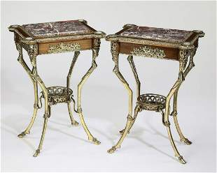(2) Late 19th c. Neoclassical style bronze etageres
