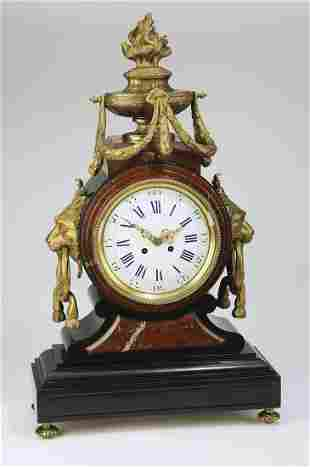 19th c. French marble and bronze mantel clock