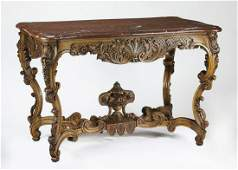19th c. French Louis XV style marble top center table