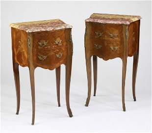 (2) Petite 19th c. French marble top commodes