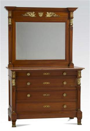 19th c. French Empire mahogany marble top dresser